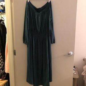 Ann Taylor dark green knit off the shoulder dress